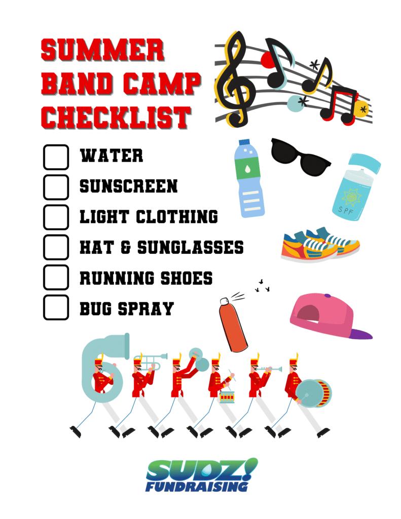 summer band camp checklist
